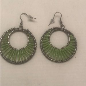 Green Wired Beaded Round Earrings